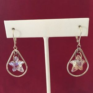 Swarovski crystal stars & silver pl. earri…